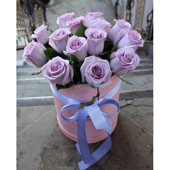 Арт. 0205. Роза 50см 15шт, шляпная коробка, атласная лента