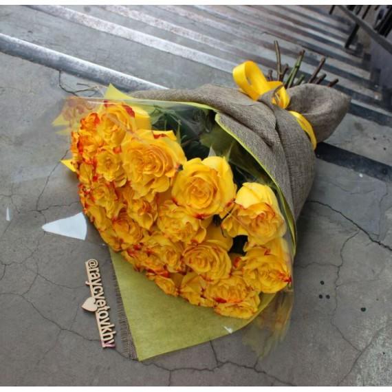 Арт. 0109. Розы 50см 25шт, джут, фетр, пленка, атласная лента