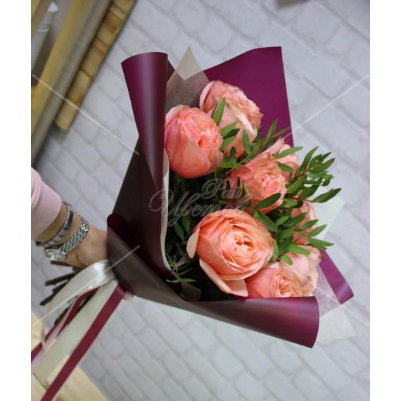 "Арт. 0048.  Роза пионовидная ""Кахала"" 50см 9шт, фисташка 1, матовая пленка, атласная лента"