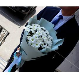 Арт. 0090. Куст.хризантема 7шт, матовая пленка, атласная лента