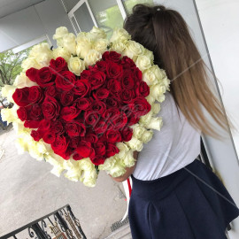 Арт. 0127. Роза 101шт в форме сердца