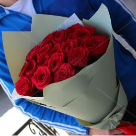 Арт. 0001. Роза 50см 17шт, матовая пленка, атласная лента